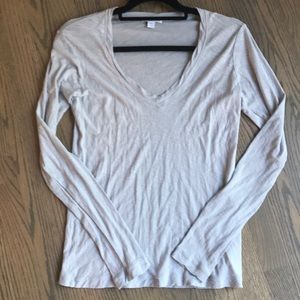 James Perse Long Sleeve V Neck T Shirt